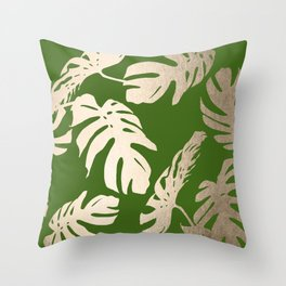 Palm Leaves White Gold Sands on Jungle Green Throw Pillow