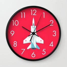 MiG-31 Foxhound Interceptor Jet Aircraft - Crimson Wall Clock
