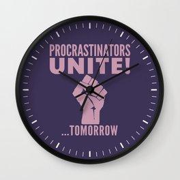 Procrastinators Unite Tomorrow (Purple) Wall Clock