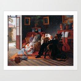 Almeida Júnior - Cena de Família de Adolfo Augusto Pinto, 1891, man, art, woman Art Print