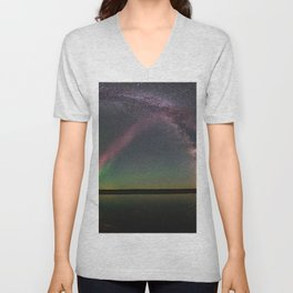 Milky Way and Steve Unisex V-Neck