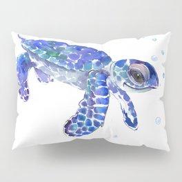 Cute Blue Baby Sea Turtle. children illustration, turtle art Pillow Sham