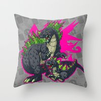 kaiju Throw Pillows featuring Kaiju Senior Kaiju Junior by firestarterdesign