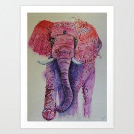 Ink Animals of Africa - Pink Ellie Art Print