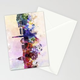 Washington DC skyline in watercolor background  Stationery Cards