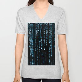 Matrix Binary Blue Code Unisex V-Neck