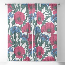 Red poppies and blue cornflowers on white Sheer Curtain