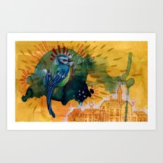 Blue Bird in Blue Cloud Art Print