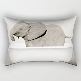 Baby Smiley Elephant in a Vintage Bathtub (c) Rectangular Pillow