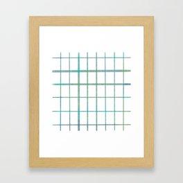 Green grid minimalist pattern Framed Art Print