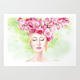 Girl in roses Art Print