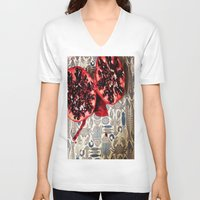 pomegranate V-neck T-shirts featuring Pomegranate  by Carey Lee Designs