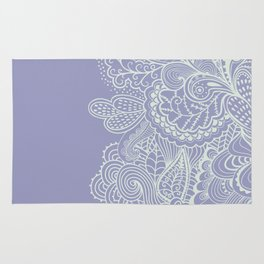 Periwinkle abstract nature jungle plants illustration Rug