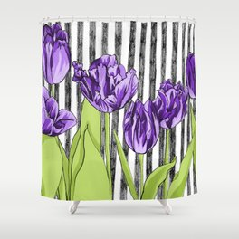 Striped Tulips Shower Curtain
