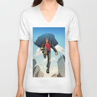 dracula V-neck T-shirts featuring Dracula by Eco Comics