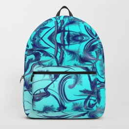 blue Digital pattern with circles and fractals artfully colored design for house and fashion unique Backpack