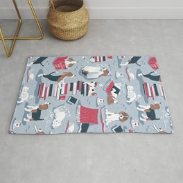 Life is better with books a hot drink and a friend // blue background brown white and blue beagles and cats and red cozy details Rug
