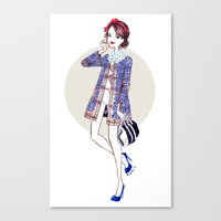blair waldorf Canvas Prints featuring Blair x Louis Vuitton by Maëlle Rajoelisolo