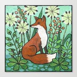 Fox among the seedheads Canvas Print