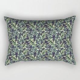 Snowberry on navy. Watercolor Rectangular Pillow