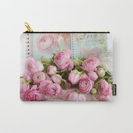 Shabby Chic Cottage Pink Floral Ranunculus Peonies Roses Print Home Decor Carry-All Pouch