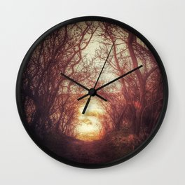 Ancient tree tunnel into the sea Wall Clock