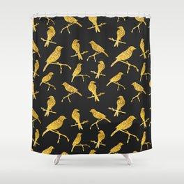Gold Birds pattern Shower Curtain