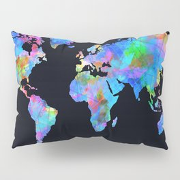 world map watercolor black Pillow Sham