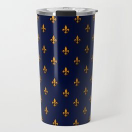 Blue & Gold Fleur-de-Lis Pattern Travel Mug