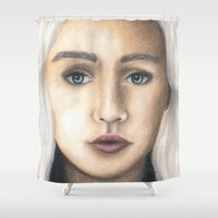 mother of dragons Shower Curtains featuring Mother of Dragons by Eleanor Dapre