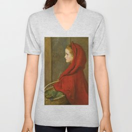 "John Everett Millais ""Red Riding Hood (A Portrait of Effie Millais, the artist's daughter)"" Unisex V-Neck"