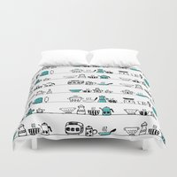kitchen Duvet Covers featuring Kitchen Doodle by The Babybirds