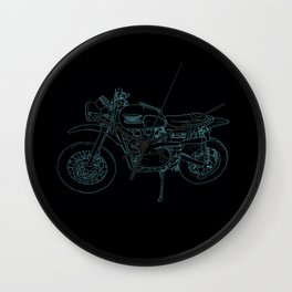 Blue Neon Motorcycle Wall Clock