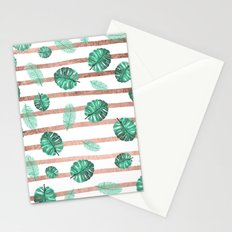Modern exotic summer  watercolor tropical leaf rose gold stripes  Stationery Cards