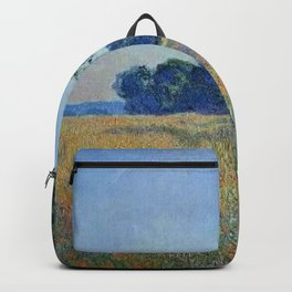 Oat and Red Poppy Fields, Giverny Landscape Painting by Claude Monet Backpack