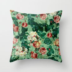 Floral and Marble Texture Throw Pillow