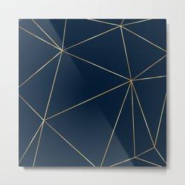 Navy Gold Abstract Lines Wall Art. Modern digital art. Metal Print