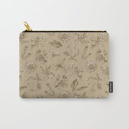 Savannah Blossoms on Tan Carry-All Pouch