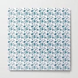 Blue Plankton Pattern Metal Print