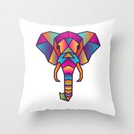 Elephant   Geometric Colorful Low Poly Animal Set Throw Pillow