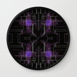 Circuit board purple repeat Wall Clock