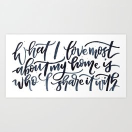 What I Love Most About Home Art Print