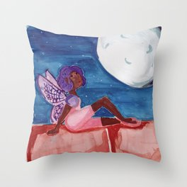 Fairy in the Moonlight Throw Pillow