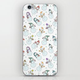 Cute pastel blue red snowman Christmas pattern iPhone Skin