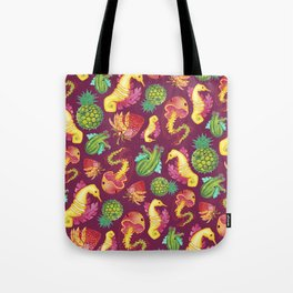 Fruit Fish Frenzy Raspberry Tote Bag