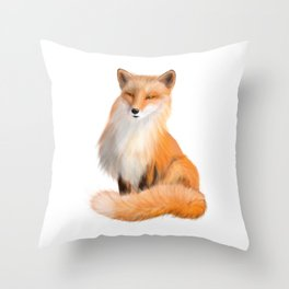 Cute Red Fox with Sly Eyes Throw Pillow