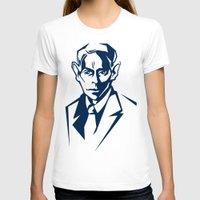 kafka T-shirts featuring Kafka portrait in Navy Blue & Pastel Green by aygeartist