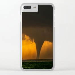 Silhouette - Large Tornado at Sunset in Kansas Clear iPhone Case
