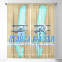 Dead Sea Travel Poster Sheer Curtain