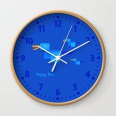 Happy Bird-Blue Wall Clock
